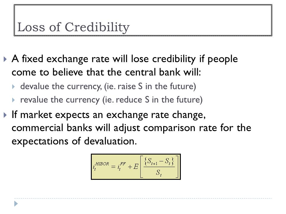 Loss of Credibility A fixed exchange rate will lose credibility if people come to believe that the central bank will: