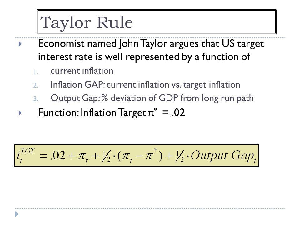 Taylor Rule Economist named John Taylor argues that US target interest rate is well represented by a function of.