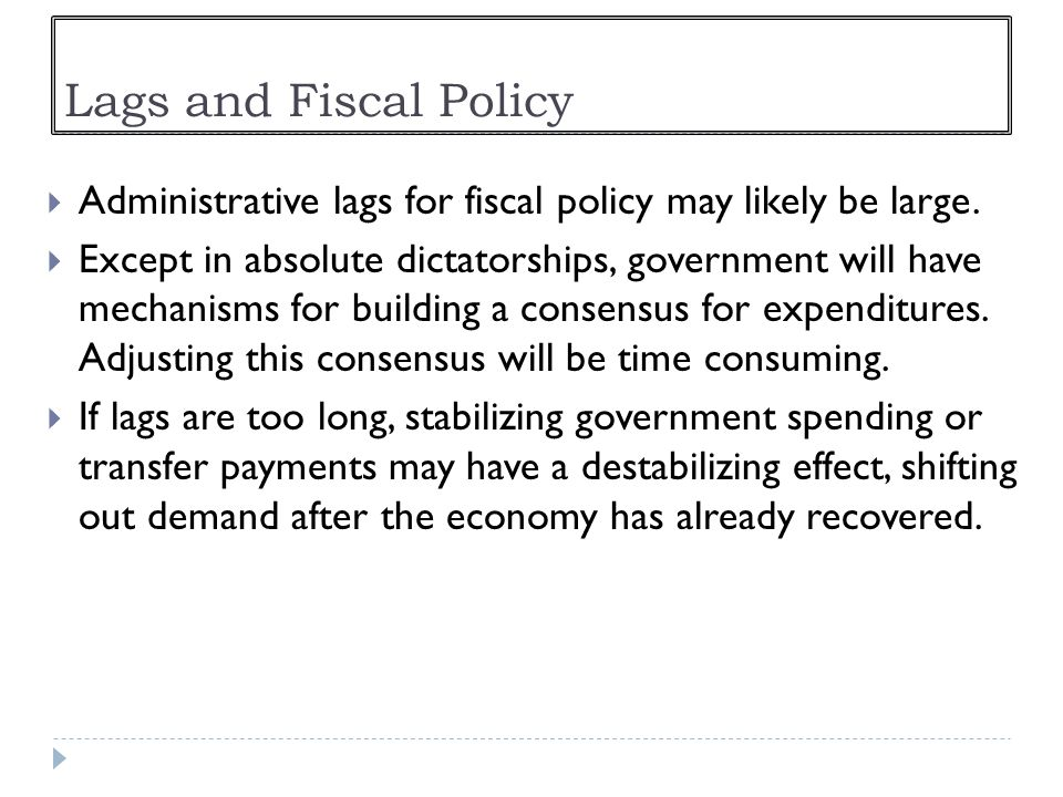 Lags and Fiscal Policy Administrative lags for fiscal policy may likely be large.