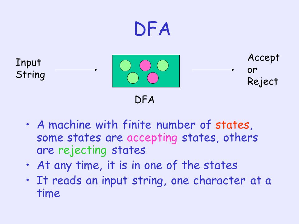 DFA Input String. Acceptor Reject. DFA. A machine with finite number of states, some states are accepting states, others are rejecting states.