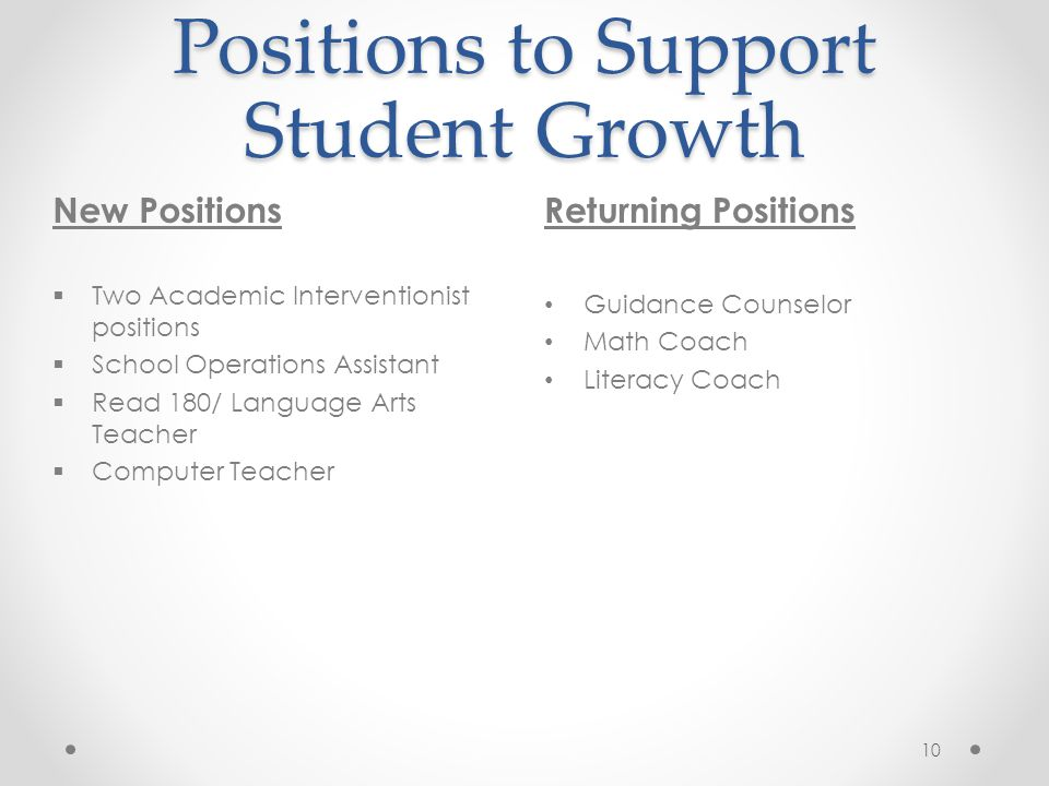 Positions to Support Student Growth