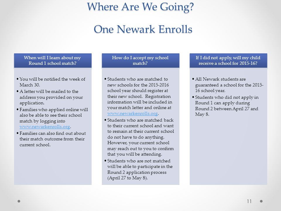 Where Are We Going One Newark Enrolls
