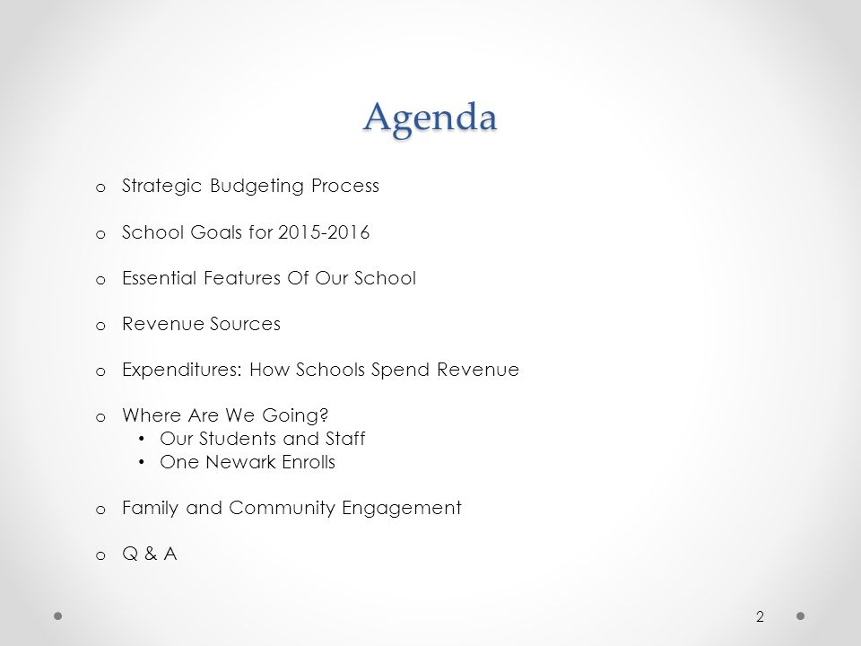 Agenda Strategic Budgeting Process School Goals for