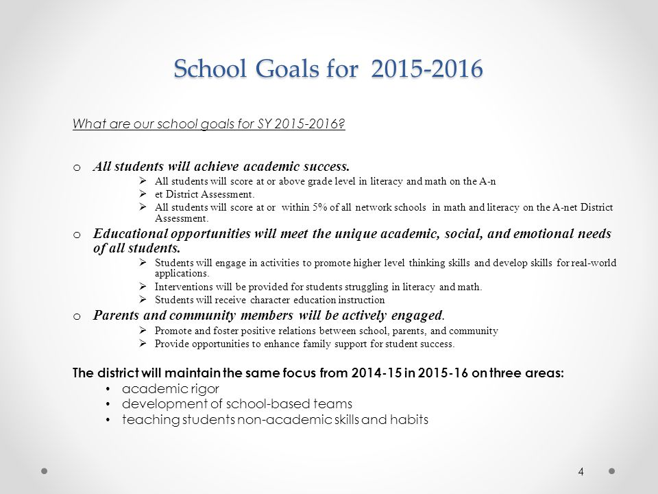 School Goals for All students will achieve academic success.
