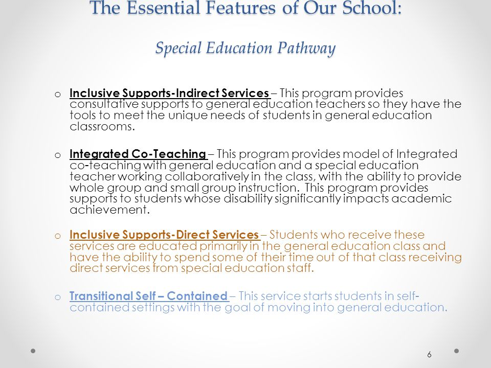 The Essential Features of Our School: Special Education Pathway