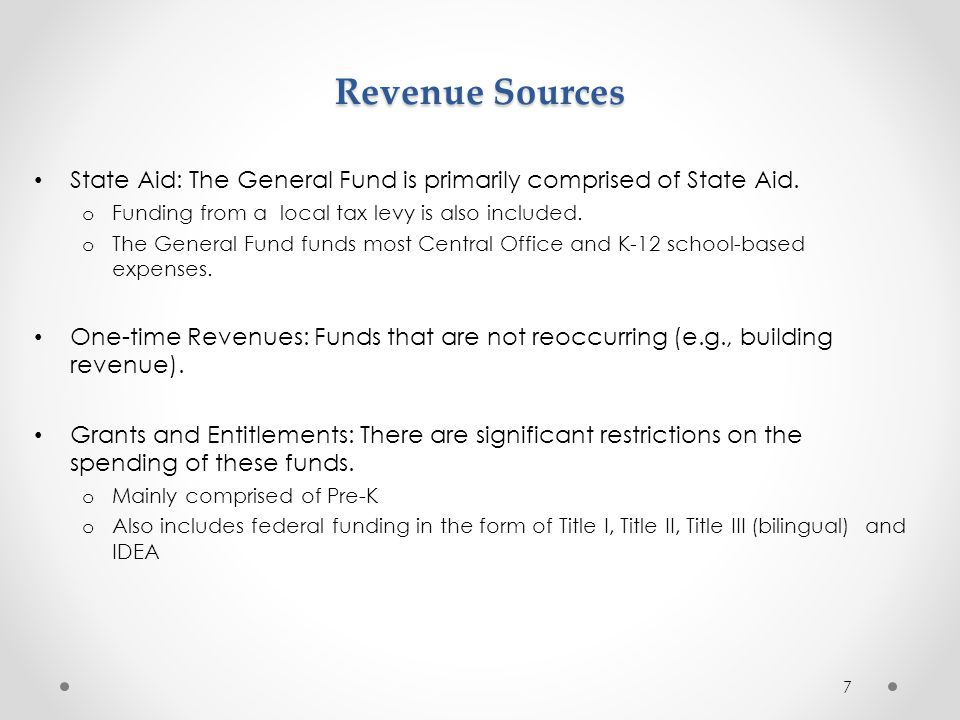 Revenue Sources State Aid: The General Fund is primarily comprised of State Aid. Funding from a local tax levy is also included.