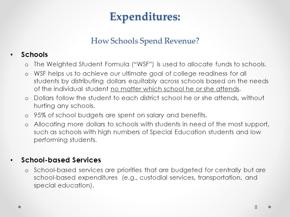 Expenditures: How Schools Spend Revenue