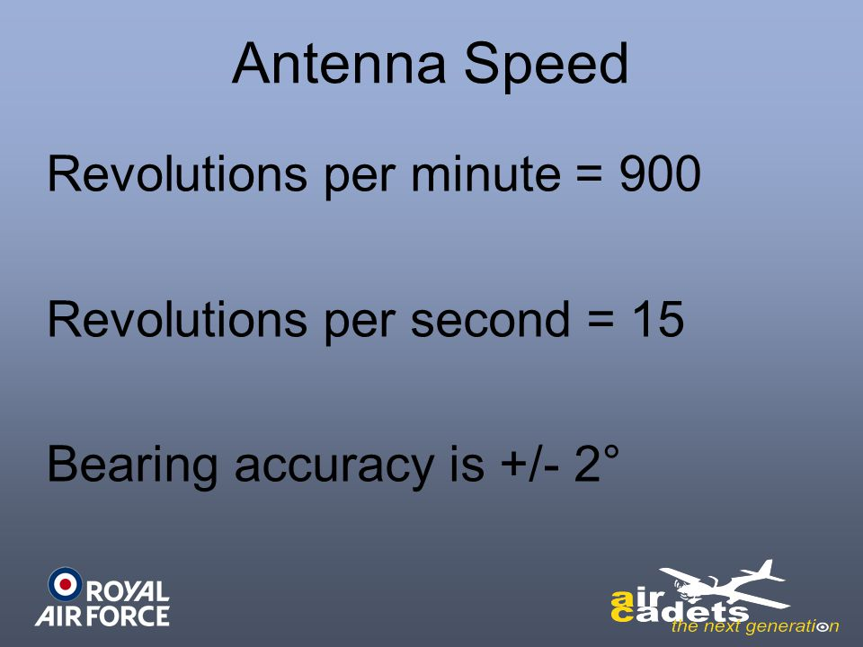 Antenna Speed Revolutions per minute = 900 Revolutions per second = 15 Bearing accuracy is +/- 2° (1) (2)
