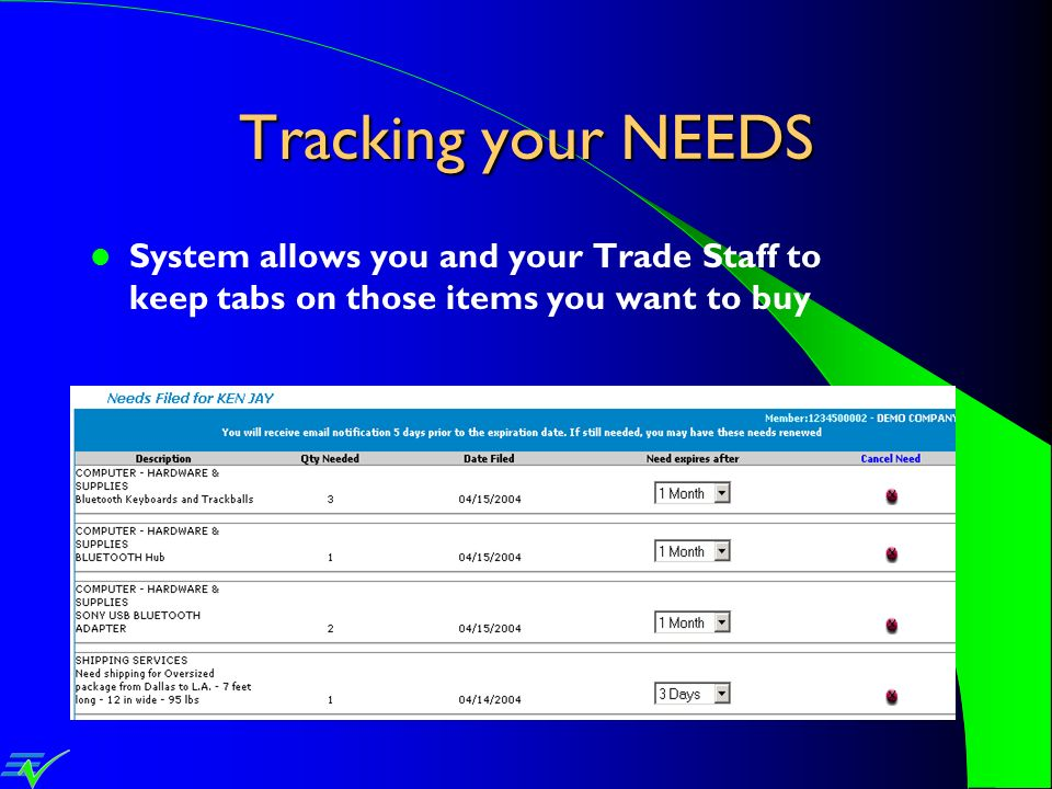 Tracking your NEEDS System allows you and your Trade Staff to keep tabs on those items you want to buy.