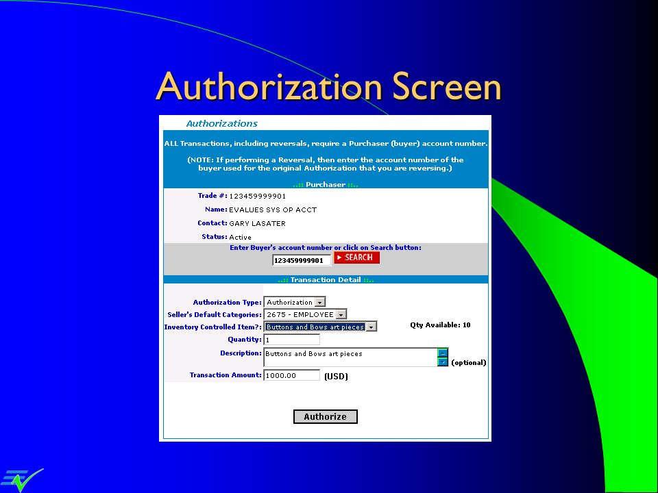 Authorization Screen