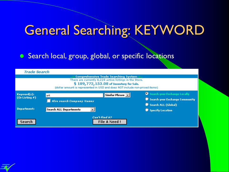 General Searching: KEYWORD