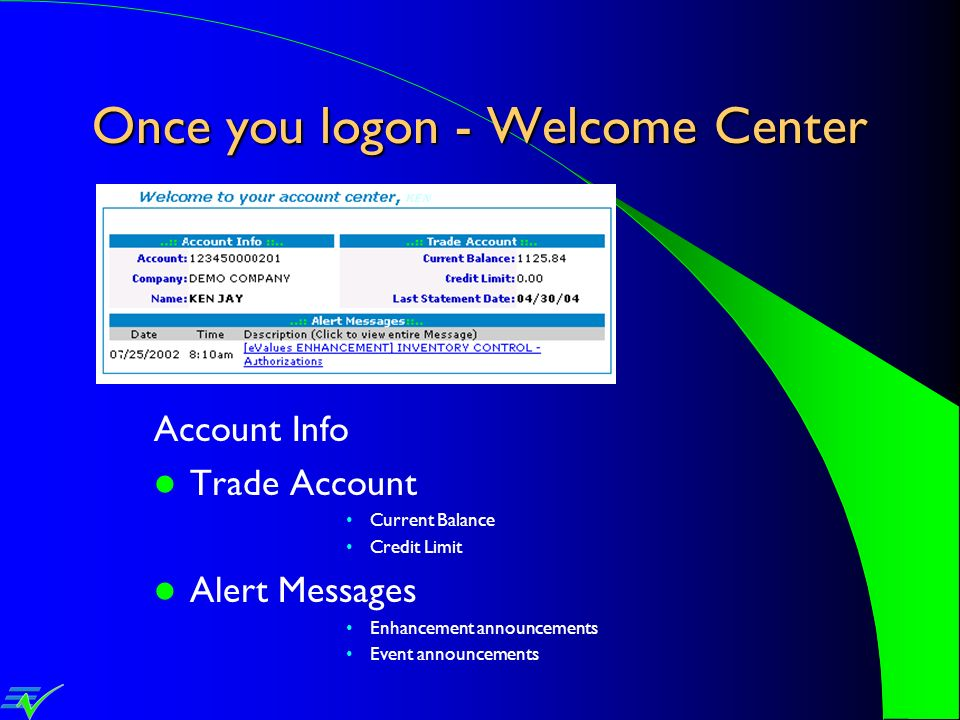 Once you logon - Welcome Center