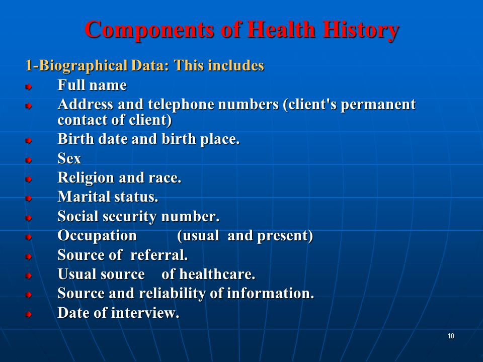 10 Components Of Health History