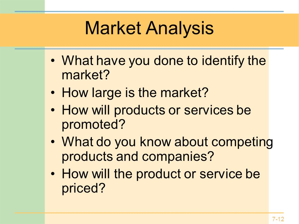 Market Analysis What have you done to identify the market