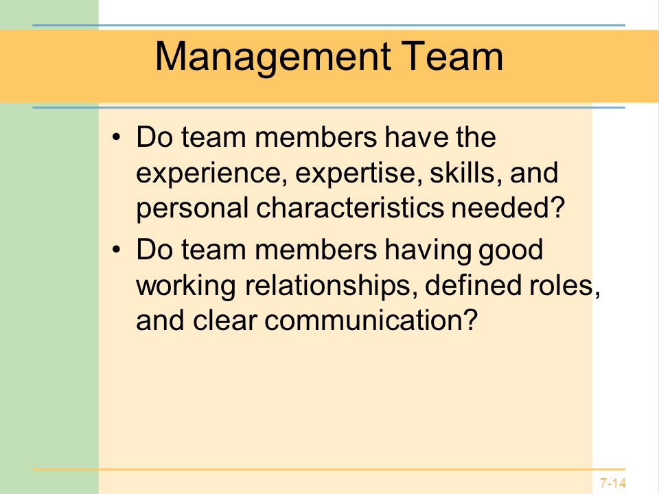 Management Team Do team members have the experience, expertise, skills, and personal characteristics needed