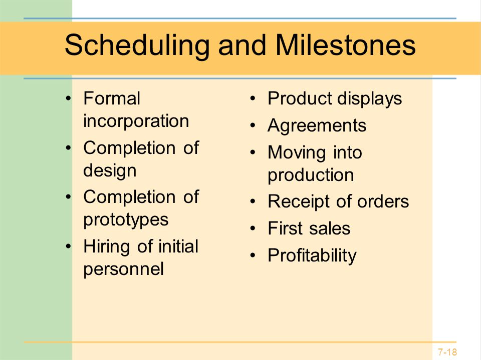 Scheduling and Milestones
