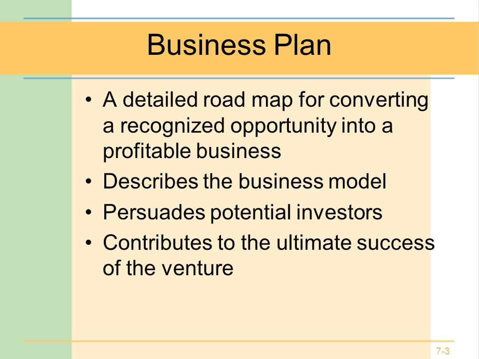 Business Plan A detailed road map for converting a recognized opportunity into a profitable business.