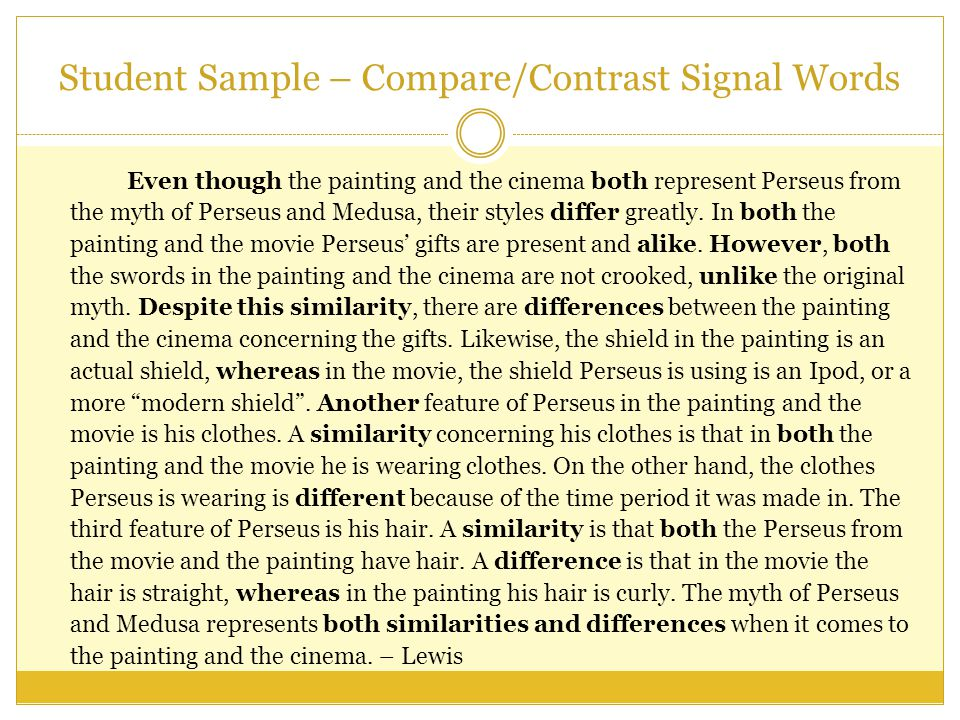 comparison signal words examples