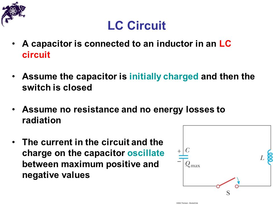 LC Circuit A capacitor is connected to an inductor in an LC circuit