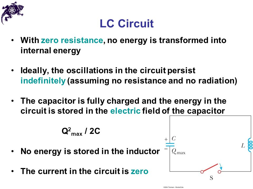 LC Circuit With zero resistance, no energy is transformed into internal energy.