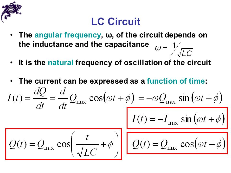 LC Circuit The angular frequency, ω, of the circuit depends on the inductance and the capacitance.