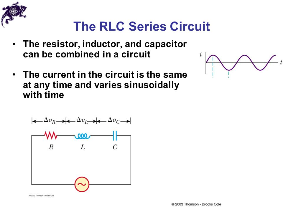 The RLC Series Circuit The resistor, inductor, and capacitor can be combined in a circuit.