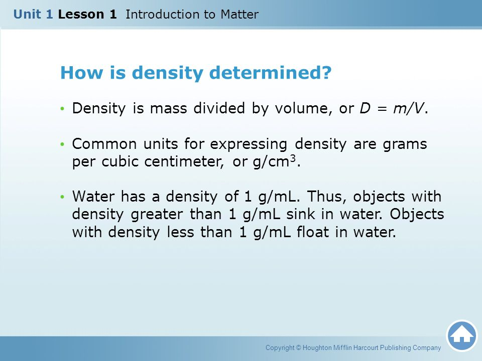 How is density determined