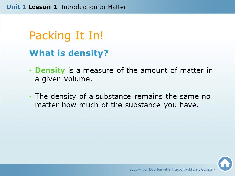 Packing It In! What is density