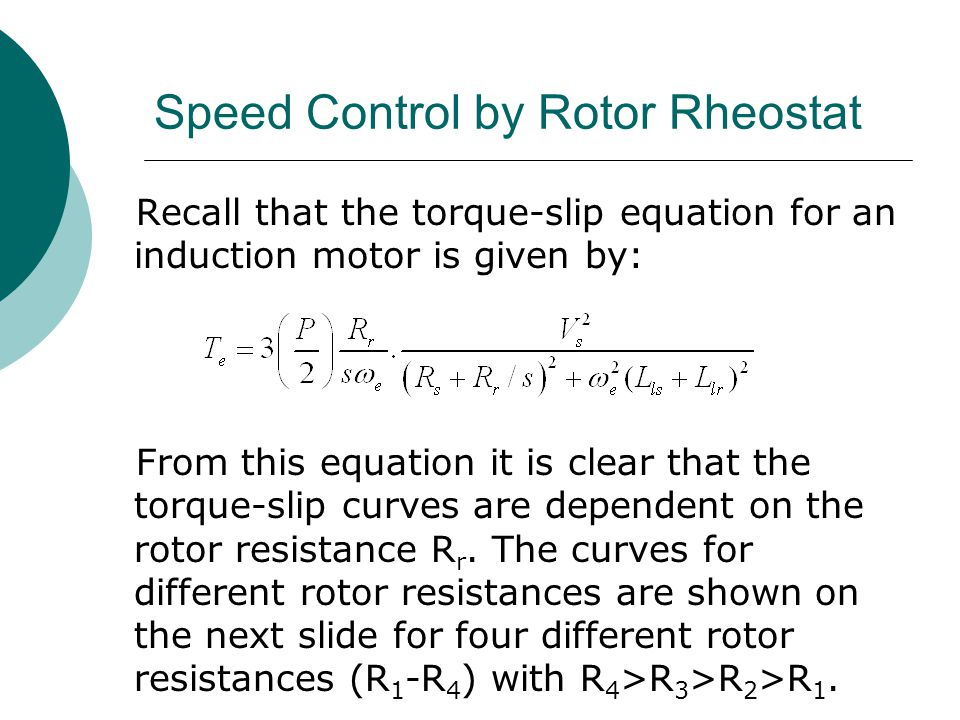 Speed Control by Rotor Rheostat