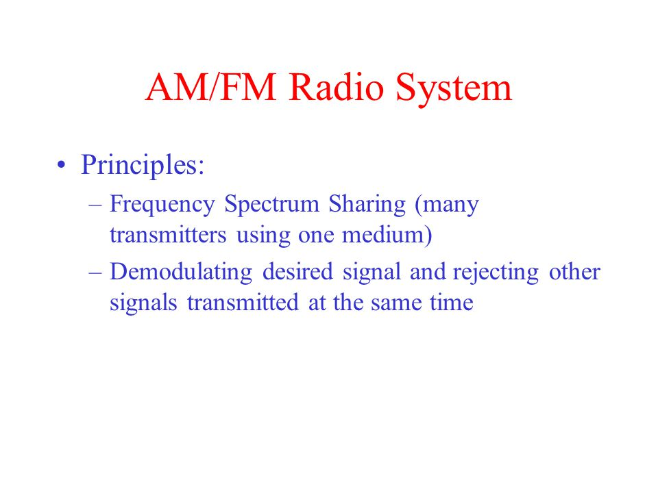 AM/FM Radio System Principles: