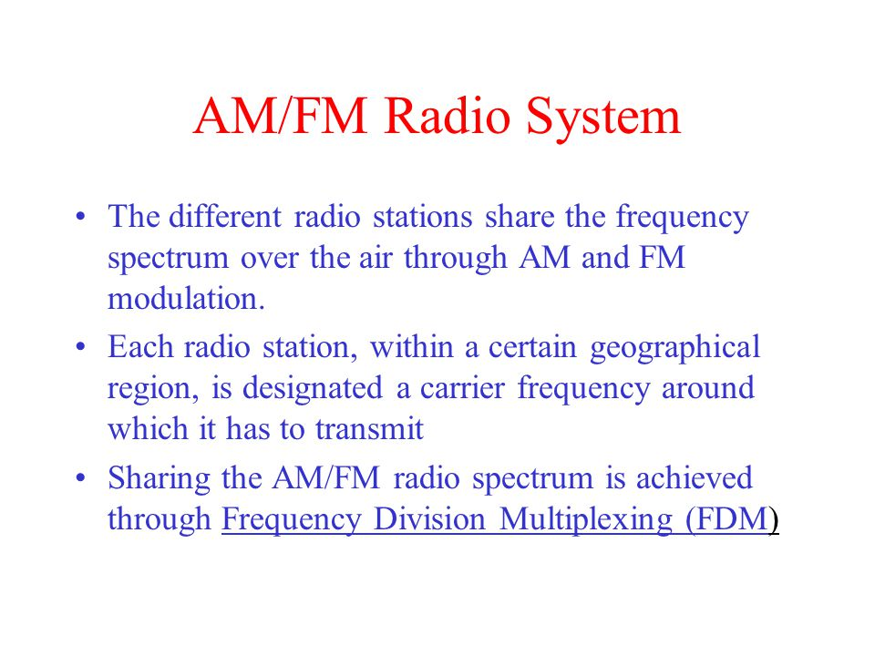 AM/FM Radio System The different radio stations share the frequency spectrum over the air through AM and FM modulation.
