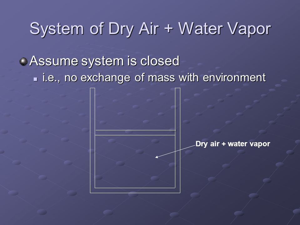 System of Dry Air + Water Vapor