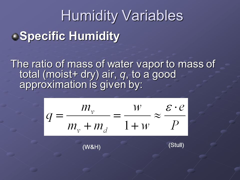 Humidity Variables Specific Humidity