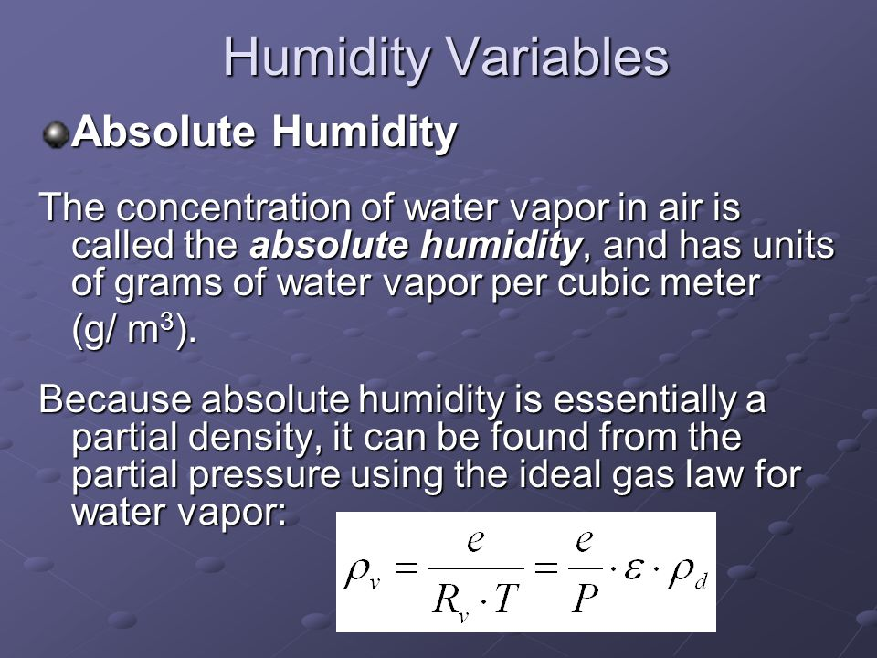 Humidity Variables Absolute Humidity