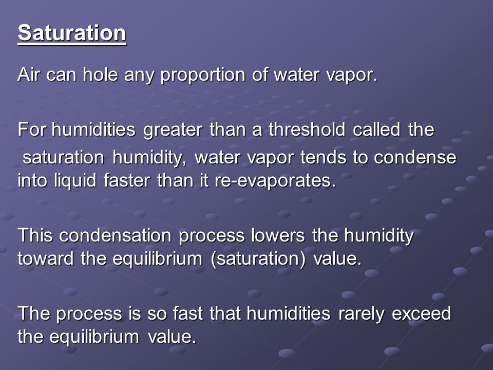 Saturation Air can hole any proportion of water vapor.