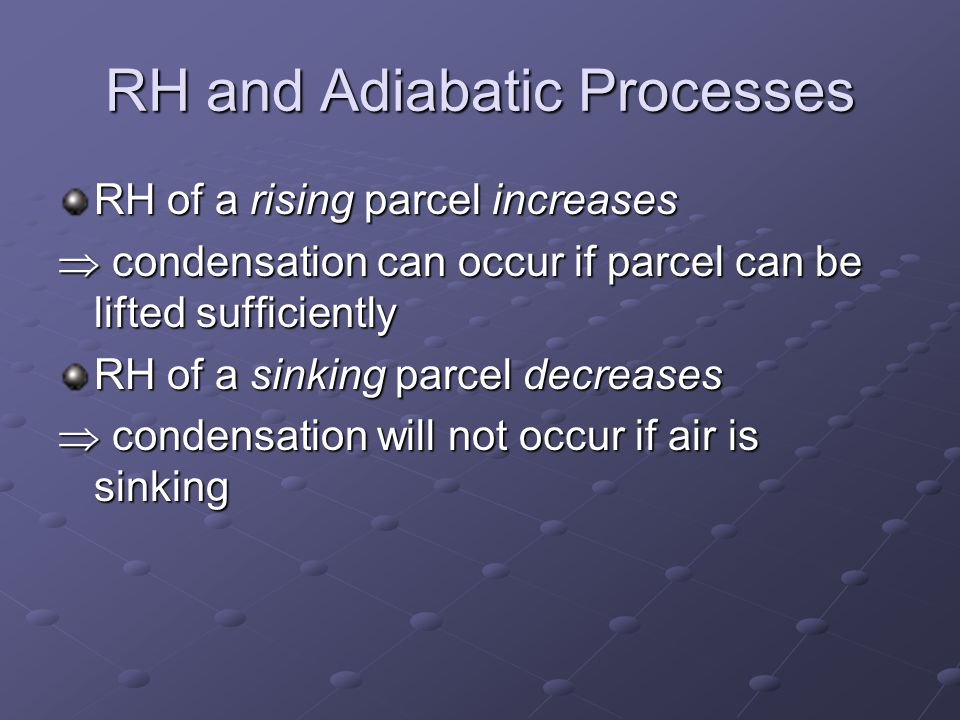 RH and Adiabatic Processes