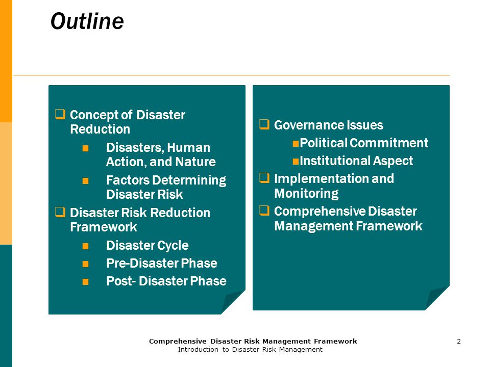Outline Concept of Disaster Reduction Governance Issues