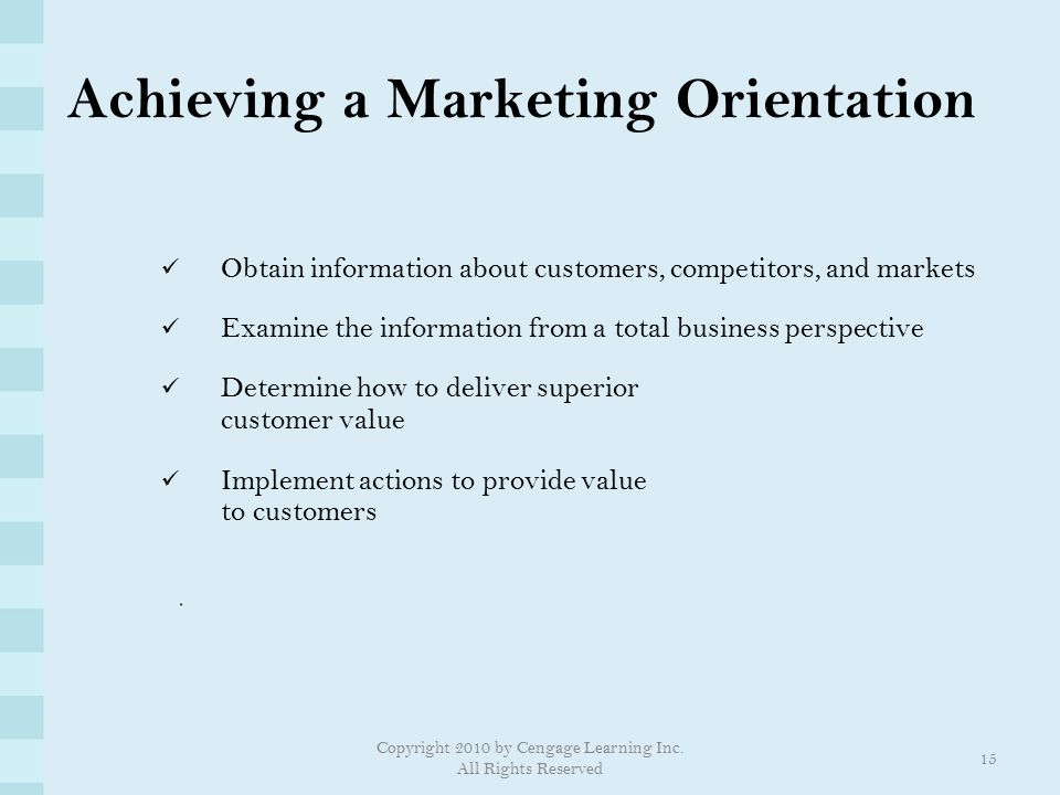 Achieving a Marketing Orientation