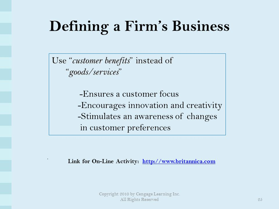 Defining a Firm's Business
