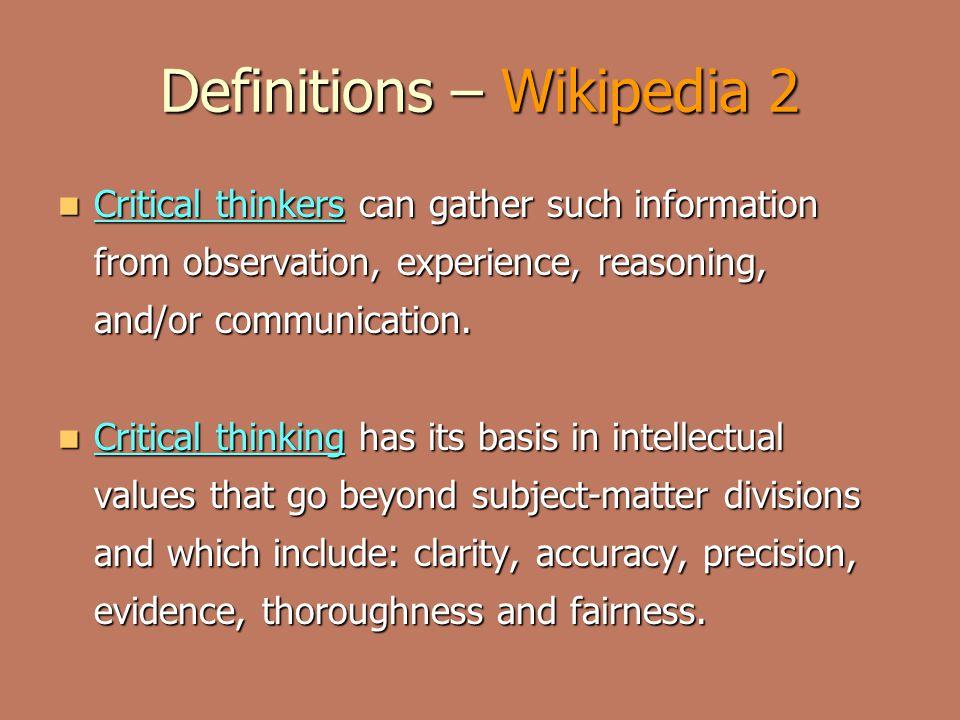 wikipedia critical thinking