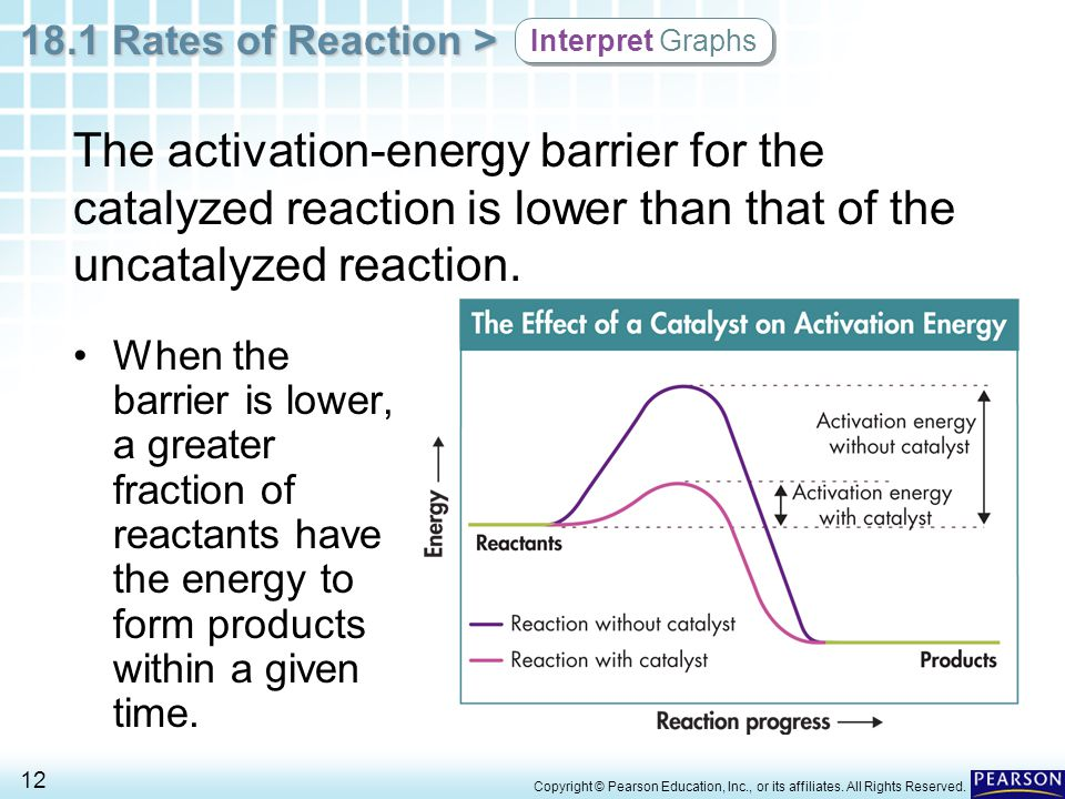 Interpret Graphs The activation-energy barrier for the catalyzed reaction is lower than that of the uncatalyzed reaction.