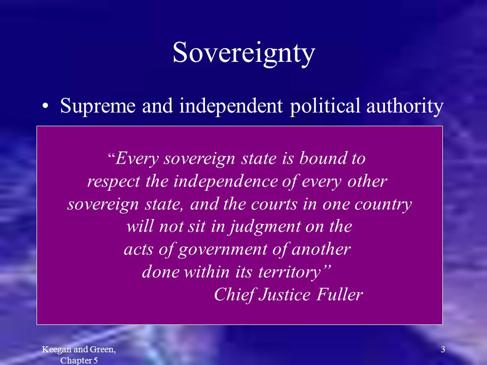 Sovereignty Supreme and independent political authority