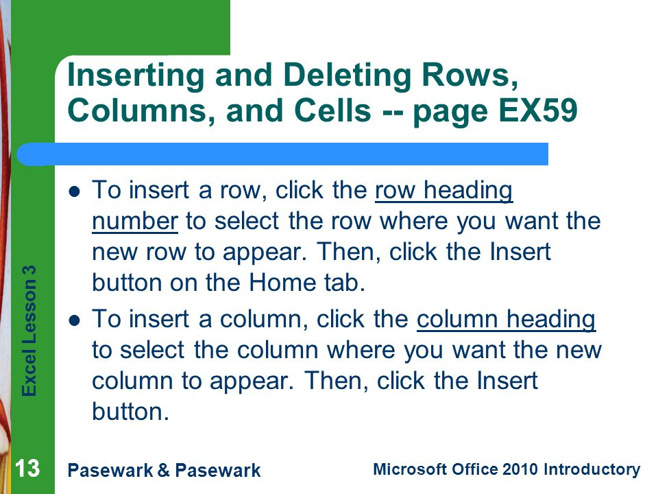 Inserting and Deleting Rows, Columns, and Cells -- page EX59