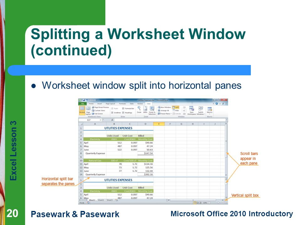 Splitting a Worksheet Window (continued)