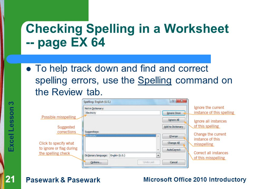 Checking Spelling in a Worksheet -- page EX 64