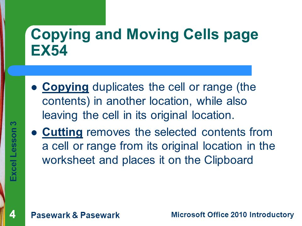 Copying and Moving Cells page EX54