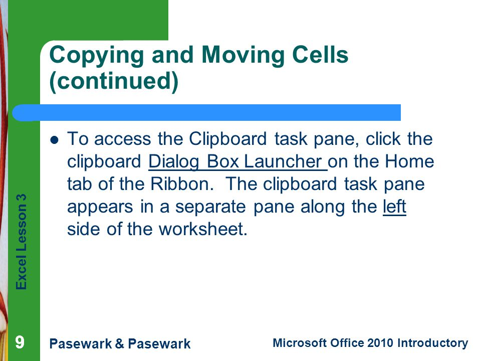 Copying and Moving Cells (continued)