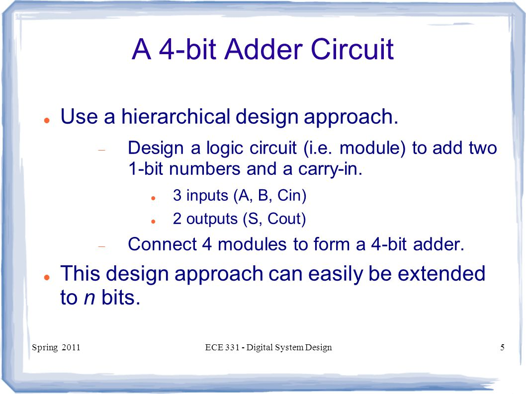 Ece 331 Digital System Design Ppt Video Online Download Electric Adder Subtractor Truth Table 4 Bit Binary Part 1 5 A