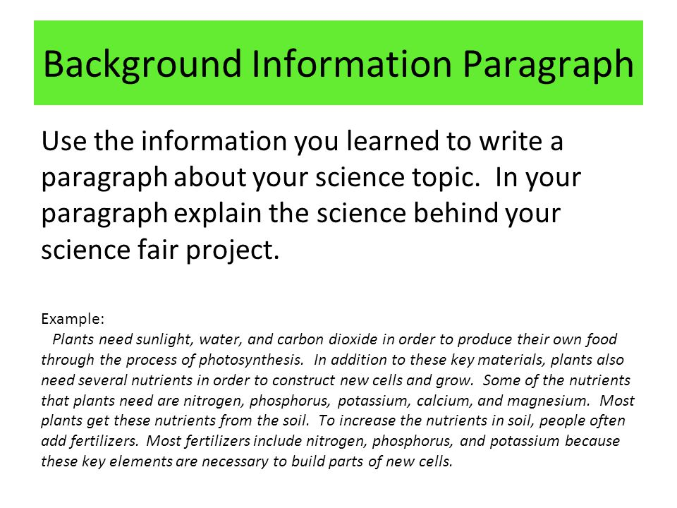 what is background information example