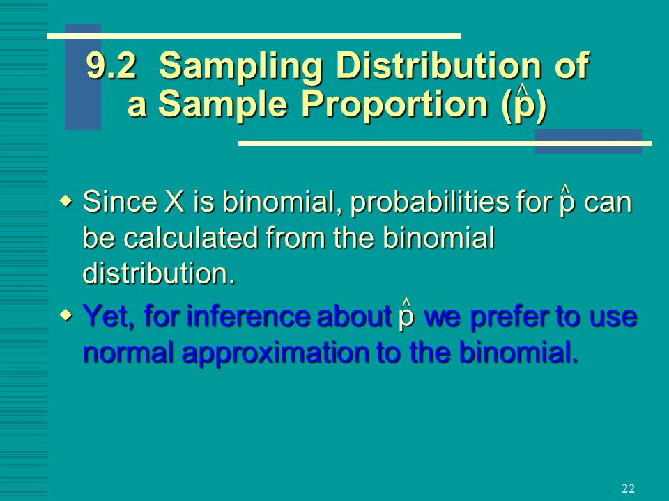 9.2 Sampling Distribution of a Sample Proportion (p)